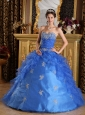 Classical Blue Quinceanera Dress Sweetheart Ruffles Organza Ball Gown