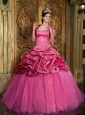 Classical Hot Pink Quinceanera Dress Sweetheart Taffeta and Organza Appliques Ball Gown