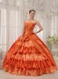 Classical Orange Quinceanera Dress Strapless Taffeta Ruffles Ball Gown