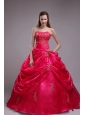 Classical Red Quinceanera Dress Strapless Orangza Applqiues Ball Gown