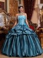 Cute Blue Quinceanera Dress Strapless Taffeta Hand Made Flower Ball Gown