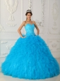 Discount Teal Quinceanera Dress Sweetheart Satin and Organza Beading Ball Gown