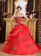 Discount Red Quinceanera Dress Strapless Taffeta Embroidery Ball Gown