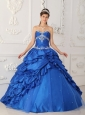 Exclusive Sapphire Blue Quinceanera Dress Sweetheart Taffeta and Tulle Appliques with Beading A-Line / Princess