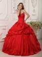 Exclusive Red  Quinceanera Dress Sweetheart  Beading Taffeta Ball Gown