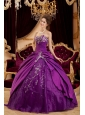 Exquisite Purple Quinceanera Dress Sweetheart Taffeta and Tulle Appliques Ball Gown