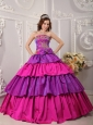 Gorgeous Multi-color Quinceanera Dress Strapless Taffeta Appliques Ball Gown