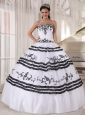 Impression White and Black Quinceanera Dress Sweetheart Floor-length Tulle Embroidery Ball Gown