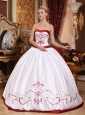 Informal White Quinceanera Dress Strapless Satin Embroidery Ball Gown