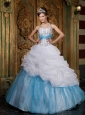 Lovely White and Baby Blue Quinceanera Dress Halter Beading A-line / Princess