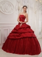 Luxurious Wine Red Quinceanera Dress Strapless Taffeta Ruffles Ball Gown