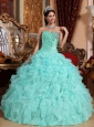 Modest Apple Green Quinceanera Dress Sweetheart  Organza Beading and Ruffles Ball Gown