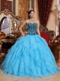 Modest Aqua Blue Quinceanera Dress Sweetheart Floor-length Organza Embroidery with Beading Ball Gown