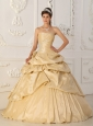 Modest Champagne Strapless Taffeta Beading Quinceanera Dress A-Line / Princess
