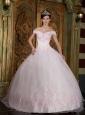 Modest Light Pink Quinceanera Dress Off The Shoulder Appliques Organza Ball Gown