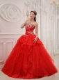 Modest Red Quinceanera Dress Strapless Taffeta and Organza Appliques Ball Gown