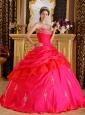 Modest Red Quinceanera Dress Sweetheart Taffeta Beading Ball Gown