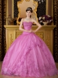 New Rose Pink Quinceanera Dress Sweetheart Appliques Organza Ball Gown
