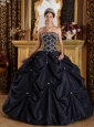 Popular Black Quinceanera Dress Strapless Beading Taffeta Ball Gown