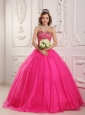 Popular Hot Pink Quinceanera Dress Sweetheart Satin and Organza Beading A-Line / Princess