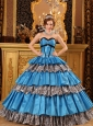 Popular Sky Blue Quinceanera Dress Sweetheart Taffeta Ruffles Ball Gown