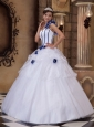 Popular White Quinceanera Dress One Shoulder Satin and Organza Hand Made Flowers Ball Gown