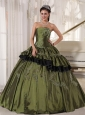 Popular Olive Quinceanera Dress Strapless Taffeta Beading Ball Gown