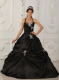 Pretty Black Quinceanera Dress Halter Taffeta Appliques A-Line / Princess