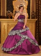 Pretty Fuchsia Quinceanera Dress Strapless Taffeta Embroidery Ball Gown