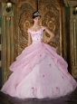 Romantic Pink Quinceanera Dress Off The Shoulder Organza Appliques Ball Gown