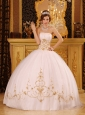 Romantic White Quinceanera Dress Strapless Satin and Tulle Appliques Ball Gown