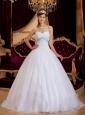 Romantic White Quinceanera Dress  Sweetheart Appliques Tulle A-line / Princess