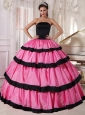 Sexy Rose Pink and Black Quinceanera Dress Strapless Taffeta Ball Gown