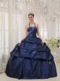 Simpel Navy Blue Quinceanera Dress Halter Taffeta Appliques Ball Gown