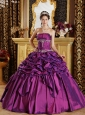 Simple Purple Quinceanera Dress Strapless Pick-ups Taffeta Ball Gown