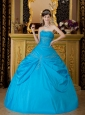 Sweet Sky Blue Quinceanera Dress Strapless Appliques Taffeta  Ball Gown