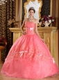 The Super Hot Watermelon Quinceanera Dress Strapless Appliques Organza Ball Gown