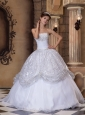 The Super Hot White Quinceanera Dress Strapless Pick-ups Sequins Ball Gown