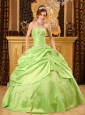 Unique Spring Green Quinceanera Dress Strapless Taffeta Beading Ball Gown