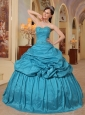 Wonderful Teal Quinceanera Dress Sweetheart Taffeta Beading Ball Gown