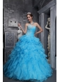 Beautiful Aqua Blue Quinceanera Dress Sweetheart  Taffeta and Organza Beading and Appliques Ball Gown