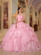 Pretty Pink Quinceanera Dress Sweetheart  Organza Beading Ball Gown