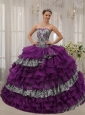 Affordable Purple Quinceanera Dress Sweetheart  Zebra and Organza Beading  Ball Gown