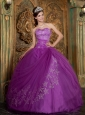 Beautiful Purple Quinceanera Dress Sweetheart Appliques Tulle Ball Gown