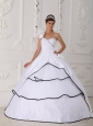 Beautiful White Quinceanera Dress One Shoulder Neck  Taffeta and Organza Beading Ball Gown