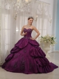 Best Eggplant Purple Quinceanera Dress Sweetheart Court Train Taffeta Appliques Ball Gown