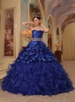 Brand New Blue Quinceanera Dress Sweetheart Organza and Taffeta Beading Ball Gown