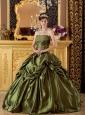 Brand New Olive Green Quinceanera Dress StraplessTaffeta Appliques Ball Gown