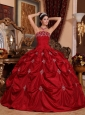 Brand New Wine Red Quinceanera Dress Strapless Taffeta Appliques Ball Gown