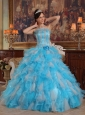 Cheap Aqua Quinceanera Dress Gown Strapless Appliques Organza Blue Ball